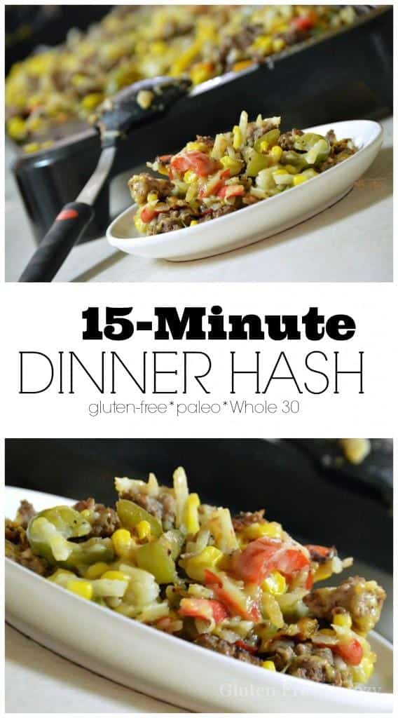 This 15-Minute Dinner Hash is so easy to prepare and is gluten-free and paleo (if you omit the cheese). You can make this easy meal a bit nicer by serving it with some fruit skewers or a beautiful frisee salad. This is a meal that the whole family with love!