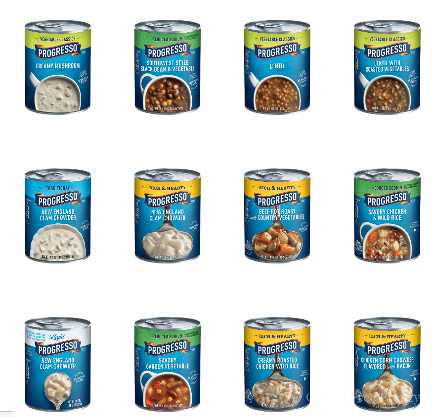 Here is the current list of all the gluten-free Progresso soups offered. So tasty and an easy gluten-free meal! glutenfreefrenzy.com