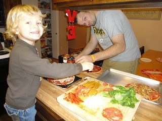 Build Your Own Pizza Night (kiddos love it!)
