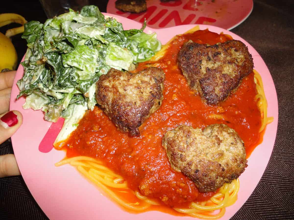 Gluten Free Heart Shaped Meatballs & Spaghetti for Valentines Day