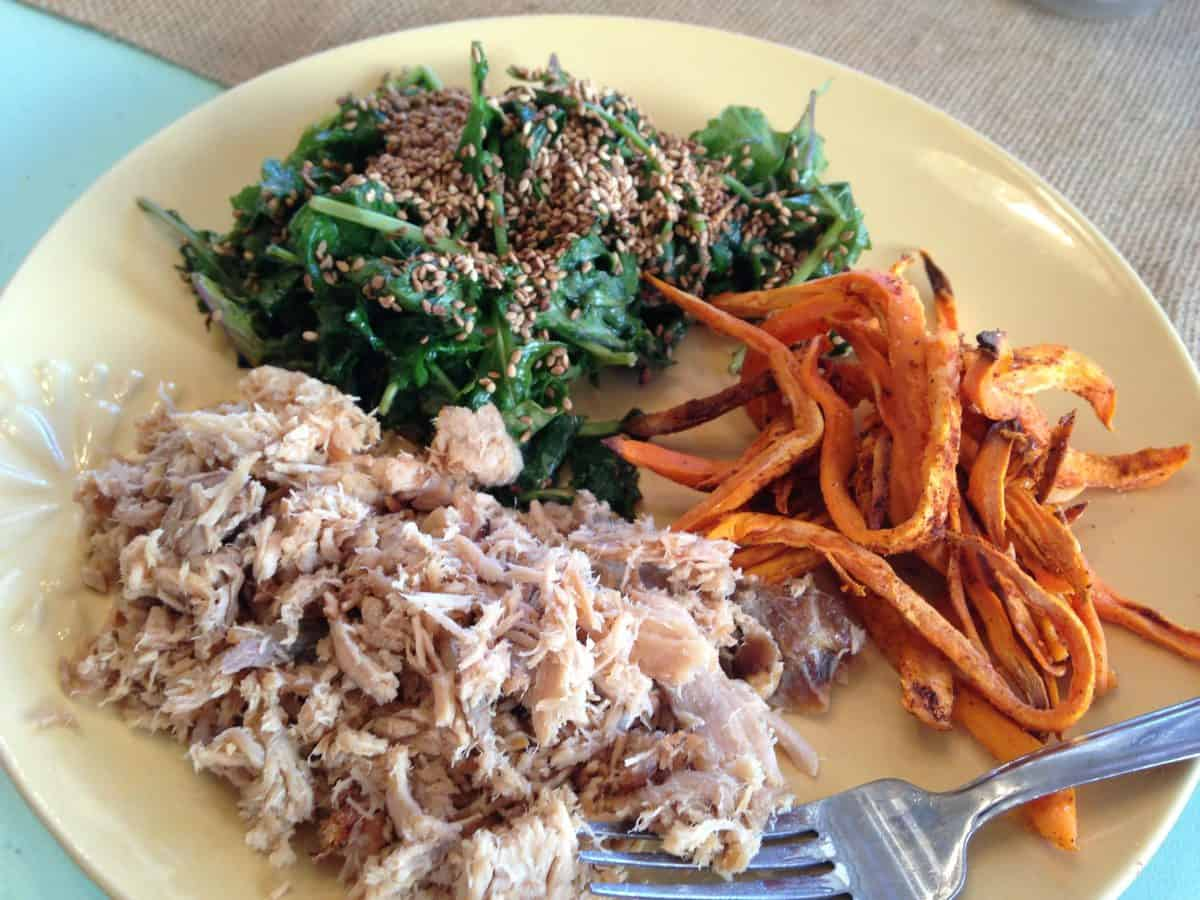 Lean Pork Roast, Sweet Potato Fries and Toasted Sesame Ginger Kale (Body Beast approved)