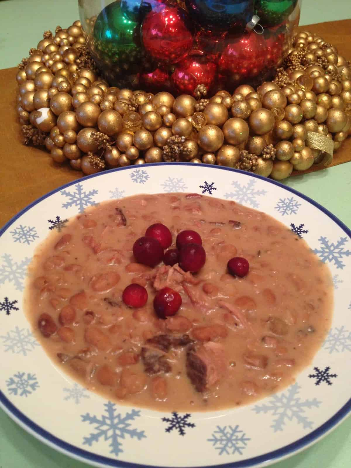 Gluten-Free Thanksgiving Leftovers: Boursin & Cranberry Dressed Ham n' Bean Soup