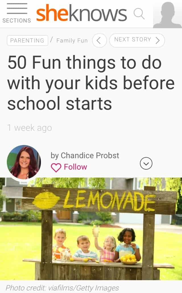50 Fun things to do with your kids before school starts (More from my Sheknows.com article)
