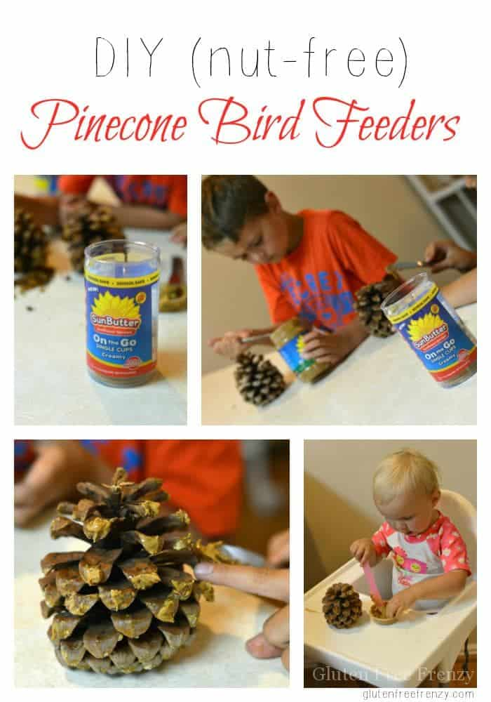 These bird feeder pinecones are so easy to make and the kids will love that they can even lick their fingers in between decorating. These are made nut-free with Sunbutter and seeds but you can use whatever nut or seed butter you'd like. No matter what you choose, this super easy craft is fun and nearly free! glutenfreefrenzy.com