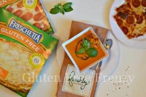 Caprese Roasted Tomato Soup with Freschetta Cheese Pizza Crostini & GIVEAWAY