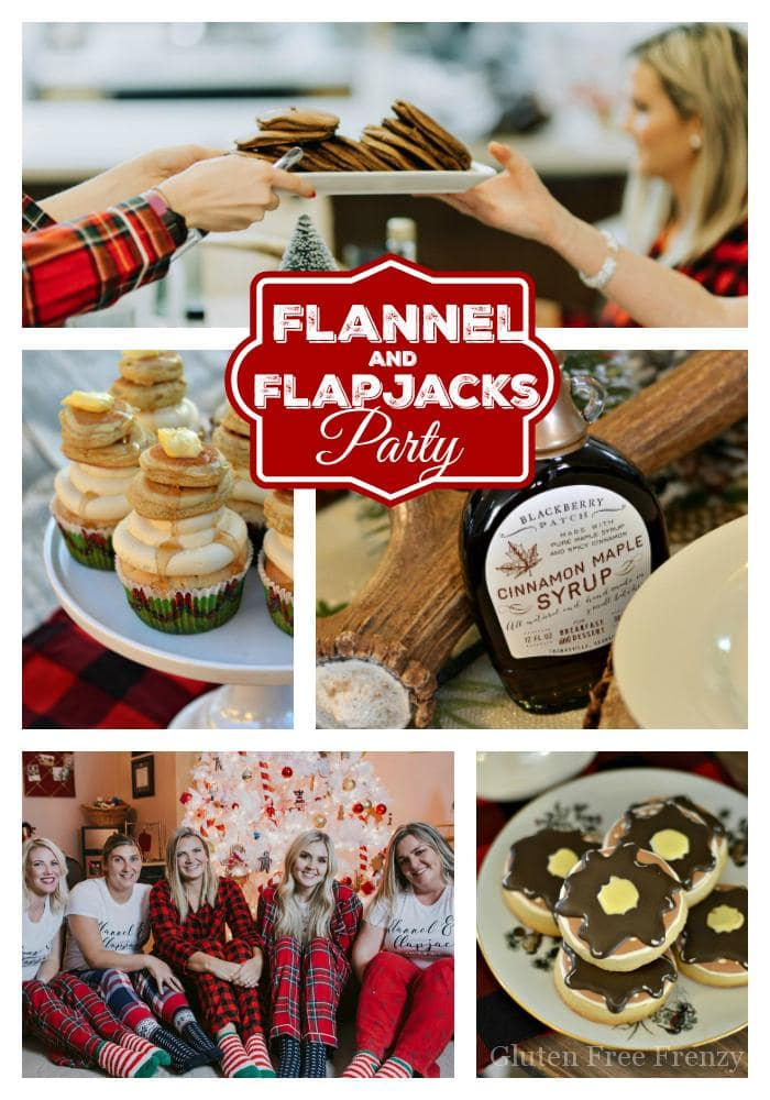 This flannel and flapjacks holiday party is full of rustic holiday fun! From the pancake decorated sugar cookies, gingerbread pancakes with sugared cranberries and flannel pj gift exchange, it has all the makings of a great holiday or Christmas girls party.