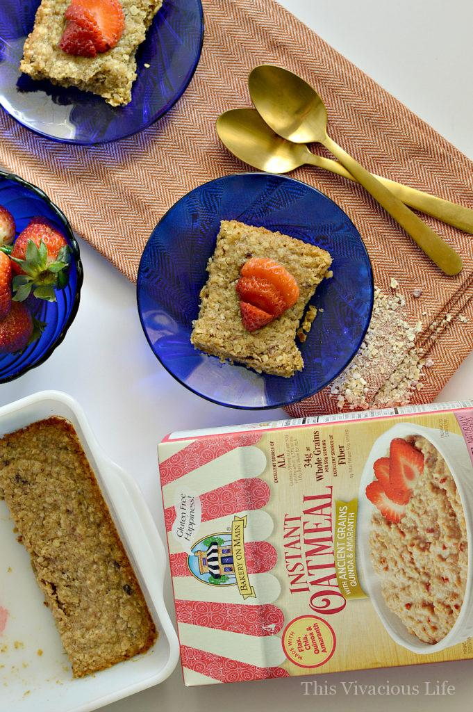 These gluten-free strawberry breakfast bars are so delectable you will want to eat the entire pan! Seriously, BEST breakfast bars ever. They are easy to make even for a quick weekday breakfast. They are heart healthy with gluten-free oatmeal and are best topped with fresh strawberries.