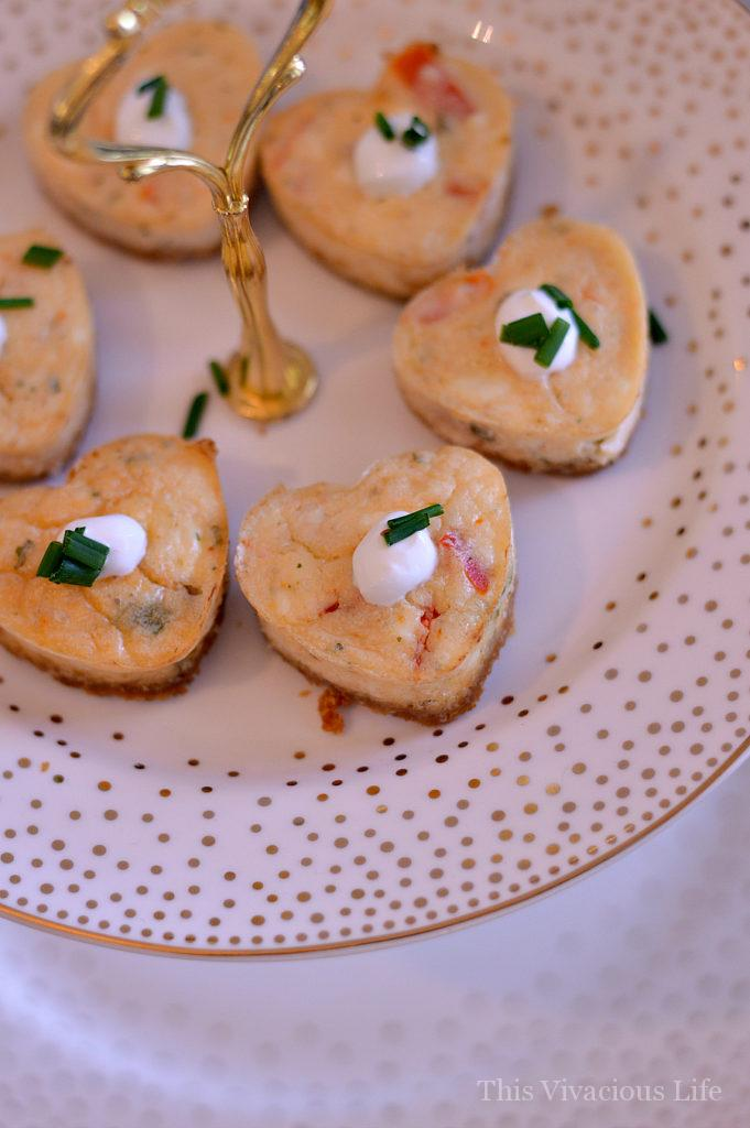 This vintage Valentines tea party was full of classy florals, antique china and delicious gluten-free goodies including savory crab cheesecakes. Get the recipe and all the details at thisvivaciouslife.com.