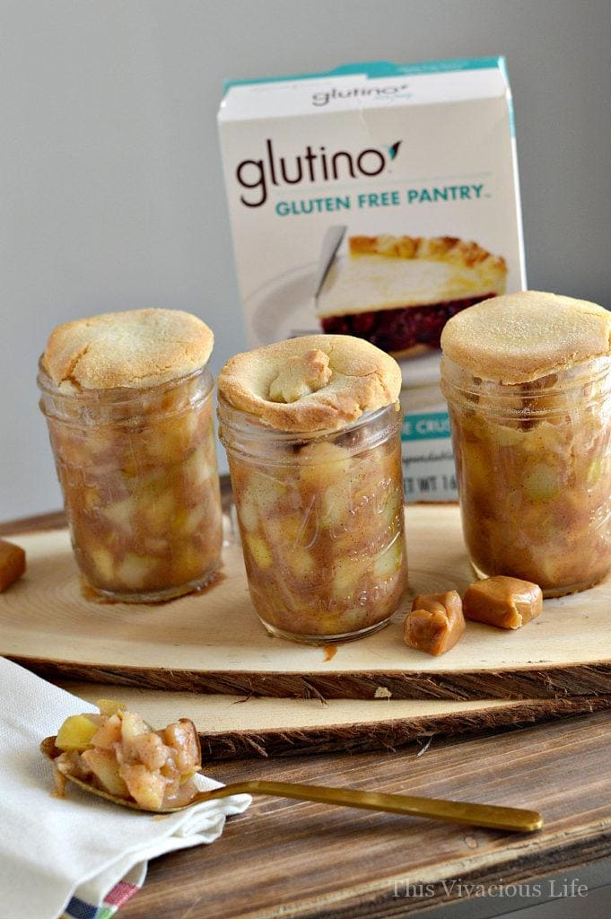 These gluten-free caramel apple pear mason jar pies are perfect for summer and especially for the 4th of July! They have all the summer flavors you love in personal size containers. Enjoy this dessert with minimal clean up at your next BBQ.