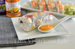 Red, White & Blue Crab Spring Rolls w/ Sriracha Mayo