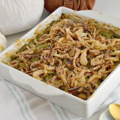 Gluten-Free Green Bean Casserole w/ Homemade Fried Onions