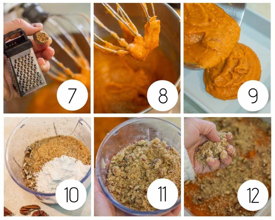 Step by step photos of sweet potato casserole and streusel