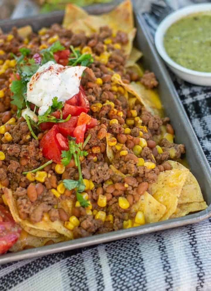 Baked bean nachos! These make a wonderful weeknight dinner because it's both easy to make and to clean up.