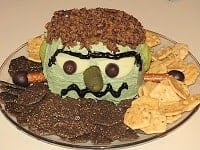 Halloween themed food!!! Frankencheese ball, spider deviled eggs and spider web cheescake!