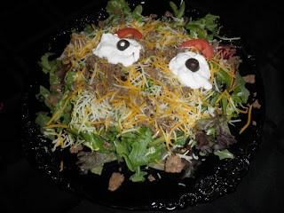 Gluten Free Halloween! Monster Taco salad…