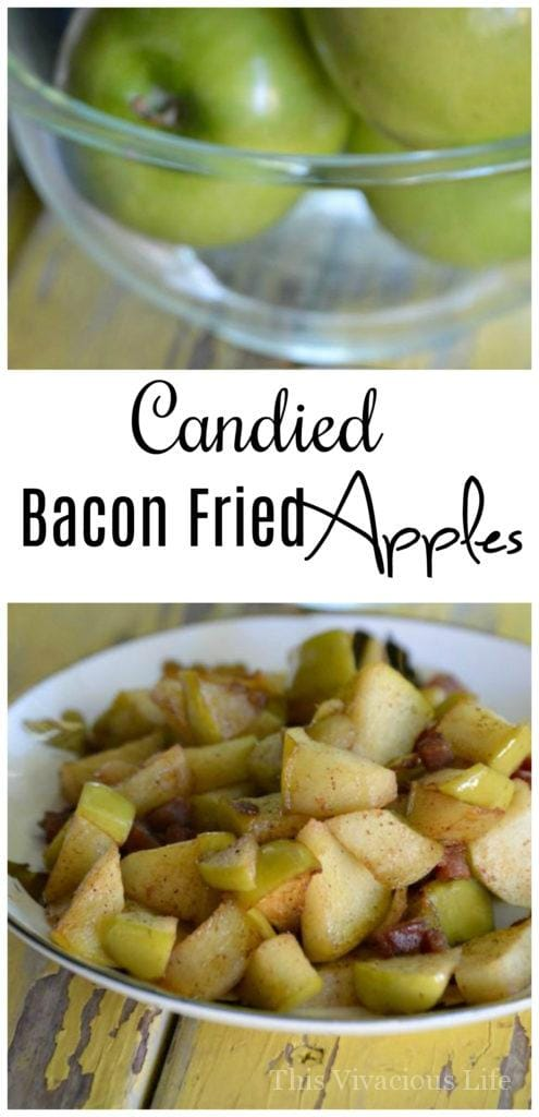 Candied Bacon Fried Apples that are bomb! So easy to make and great for breakfast or a snack. Yum!