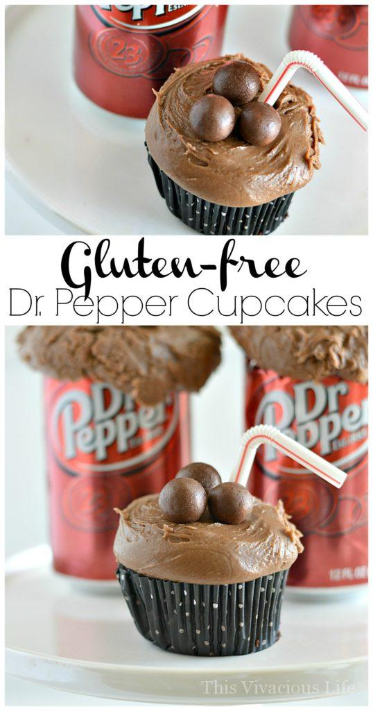 These gluten-free Dr Pepper cupcakes are so delicious and will knock the socks out of all Dr Pepper soda fans! | gluten free cupcake recipes | gluten free desserts | gluten free sweet treats || This Vivacious Life #glutenfree #recipe #dessert #glutenfreedessert #cupcakes #drpepper