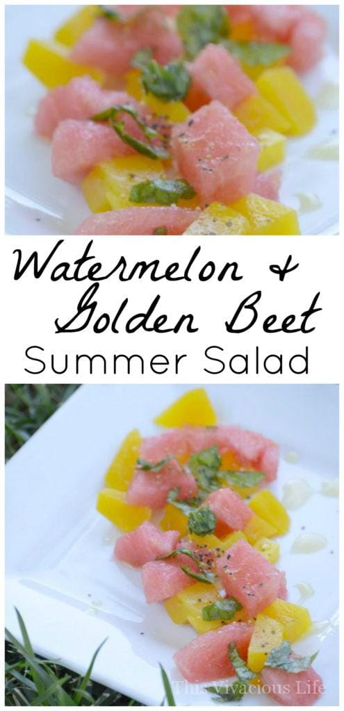 This golden beet and watermelon summer salad is loved when brought to the table. It is fresh, easy and absolutely beautiful! glutenfreefrenzy.com