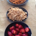 Sweet potatoe fries, lean pulled pork and strawberries