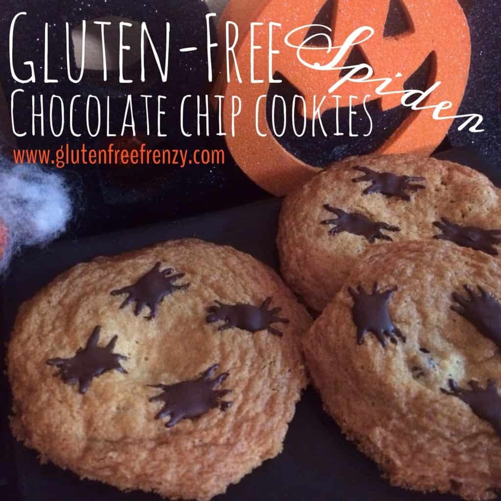 Gluten-Free Spider Chocolate Chip Cookies are festive and fun for Halloween! | fun halloween recipes | halloween recipe ideas | halloween cookie recipes | gluten free halloween recipes | gluten free chocolate chip cookies || This Vivacious Life