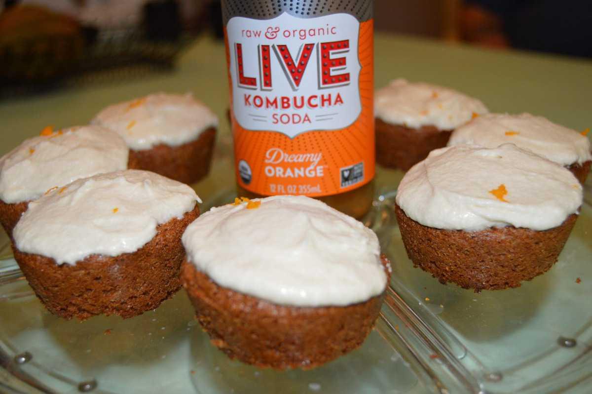 LIVE Soda Kombucha Dreamy Orange Gluten-Free Cupcakes