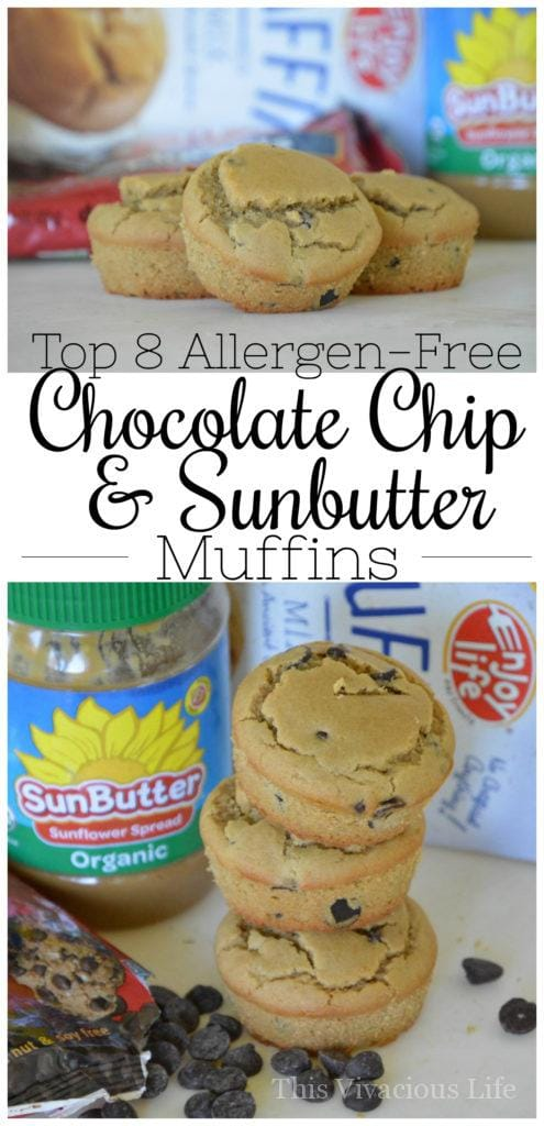 Enjoy Life Chocolate Chip & Sunbutter Top 8 Allergen-Free Muffins | allergen free muffin recipes | healthy muffin recipes | gluten free muffin recipes | dairy free muffin recipes | nut free muffin recipes | gluten free breakfast recipes | how to make allergen friendly muffins || This Vivacious Life
