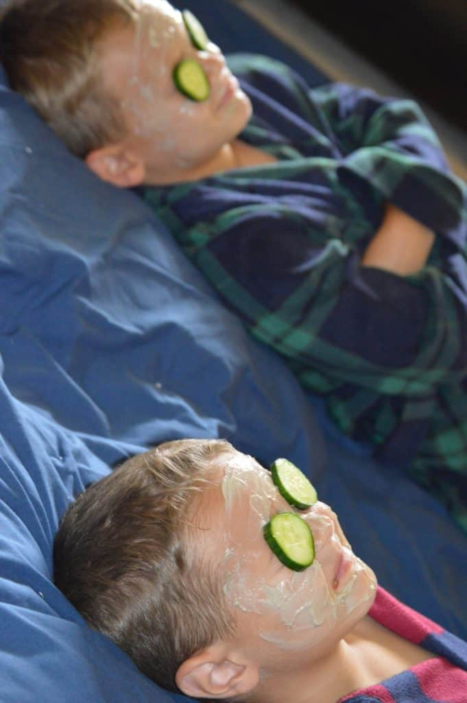 Kids with cucumbers on their eyes