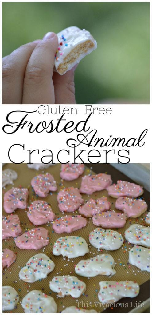 These gluten-free frosted animal crackers are a semi-homemade treat that will be nostalgic as it is fun. | homemade frosted animal crackers | gluten free animal crackers | gluten free kids snacks | gluten free sweet treats | gluten free cookies || This Vivacious Life