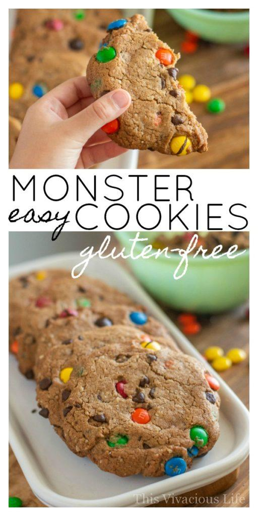 Gluten-free monster cookies! These are so easy and because they are semi-homemade, they won't have you slaving away in the kitchen all day. || This Vivacious Life #recipe #cookies #semihomemade #cookierecipe #monstercookies #chocolate #candycookies #thisvivaciouslife