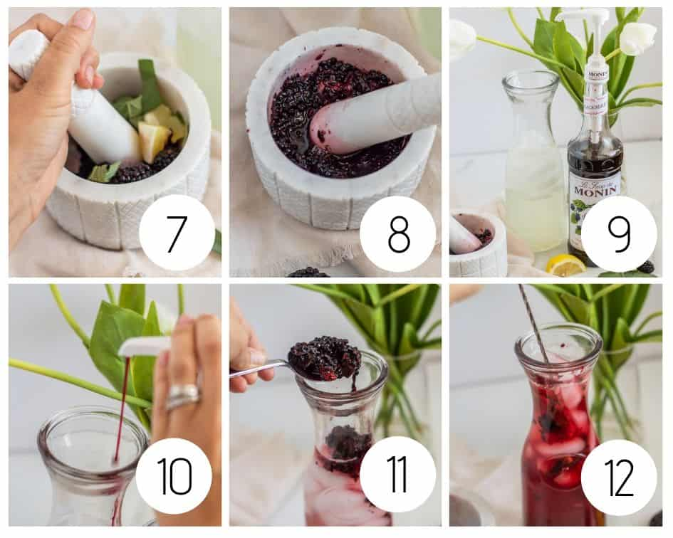 Step-by-step photos of making blackberry sage lemonade
