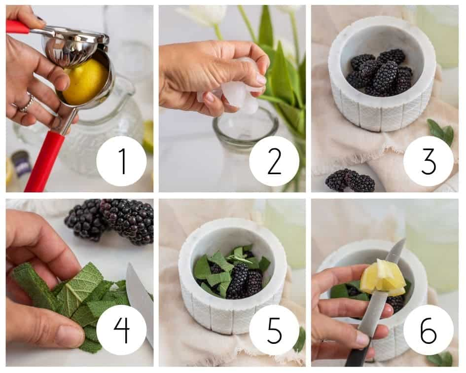 Step-by-step photos of making blackberry lemonade