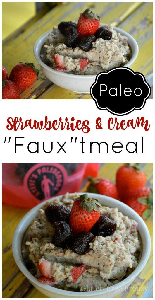 Paleo Strawberries & Cream Fauxtmeal is a great breakfast that is both hearty and delicious! This breakfast cereal has no grains, is paleo and whole30 friendly. | gluten free breakfast recipes | paleo breakfast recipes | Whole30 breakfast recipes | Whole30 approved recipes | oatmeal alternatives || This Vivacious Life
