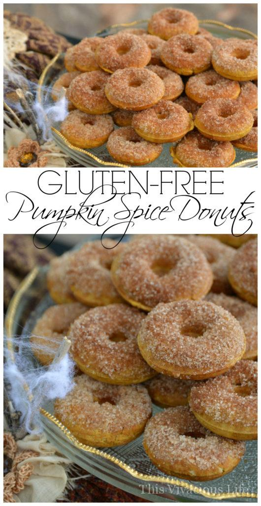 These gluten-free pumpkin spice donuts are so delicious for Halloween. | Gluten-Free Pumpkin Spice Donuts | gluten-free pumpkin spice recipes | gluten-free donut recipes | gluten-free fall recipes | gluten-free desserts | pumpkin spice recipe ideas | homemade gluten-free recipes || This Vivacious Life