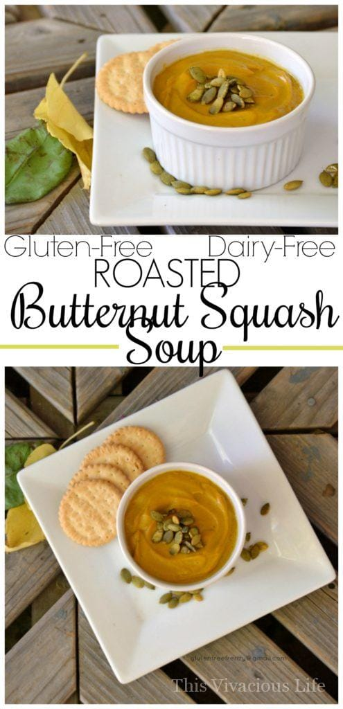 This roasted butternut squash soup is a delicious fall bowl of goodness that is quick and easy to make. | gluten-free roasted butternut squash soup | dairy-free roasted butternut squash soup | gluten-free soup recipes | gluten-free fall recipes || This Vivacious Life #glutenfree
