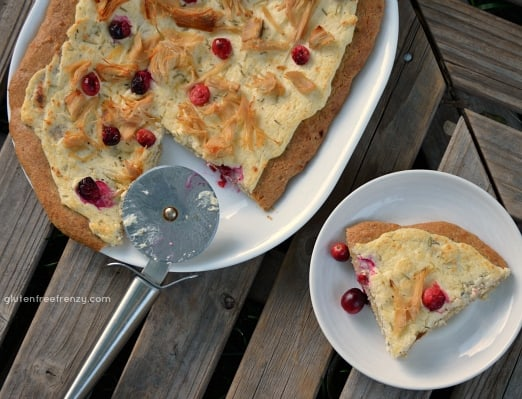 Thanksgiving Leftover Meals: White Cream Turkey & Cranberry Pizza {Gluten-Free}
