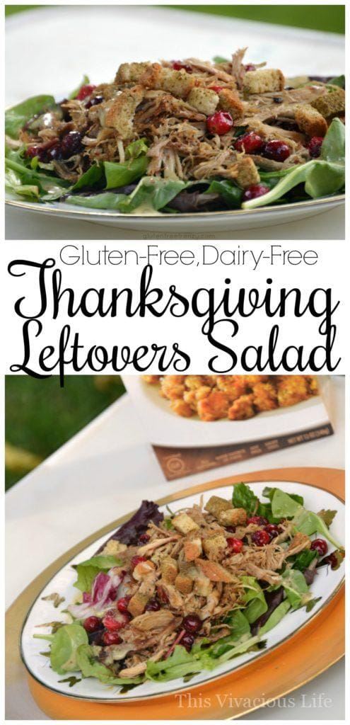 This Thanksgiving leftovers salad is easy and delicious. Using dry gluten-free stuffing mix as croutons in this salad adds bold flavors of Thanksgiving with little to no effort. | gluten-free thanksgiving recipes | gluten-free thanksgiving ideas | thanksgiving leftover recipes || This Vivacious Life #glutenfree