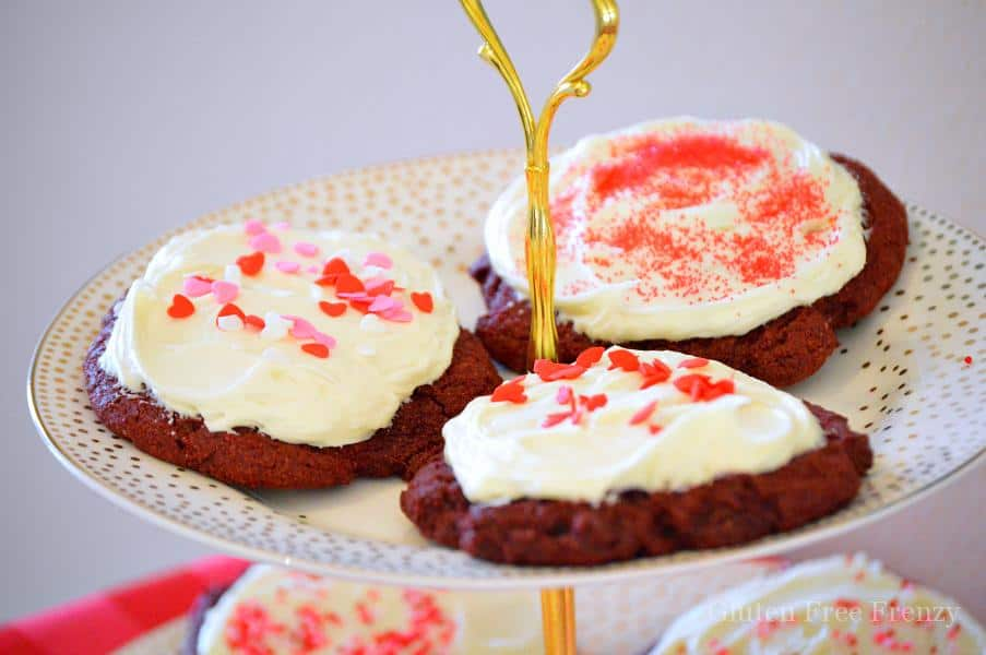 Ooey gooey red velvet cookies that will make your Valentine swoon! And they are gluten-free (but sshh...nobody would ever know)