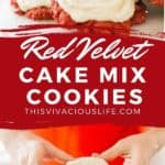 Red Velvet Cake Mix Cookies pin