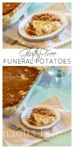 These gluten-free funeral potatoes are easy to make and a real crowd pleasing recipe. It's a family favorite meal is one we have been enjoying for generations. You can also call them yummy potatoes or cheesy hashbrown casserole.