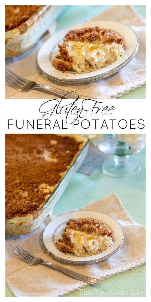 These gluten-free funeral potatoes are easy to make and a real crowd pleasing recipe. You can also call them yummy potatoes or cheesy hashbrown casserole. || This Vivacious Life #recipe #glutenfree #funeralpotatoes #potatoes #sidedish #potatorecipe #thisvivaciouslife