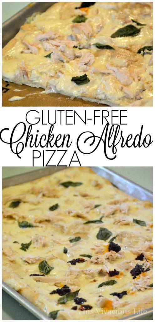 gluten-free chicken alfredo pizza | gluten-free pizza recipes | gluten-free dinner recipes | gluten-free meals || This Vivacious Life #glutenfreepizza #chickenalfredo #glutenfreedinner