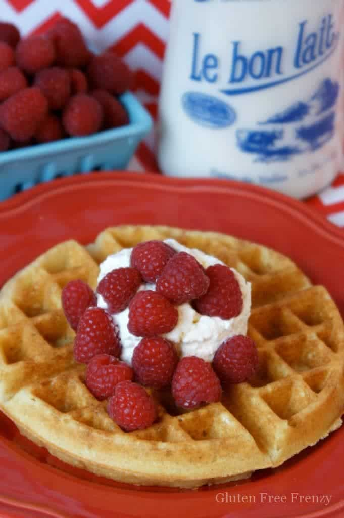 Gluten-free Belgian waffles that are so fluffy and delicious, nobody would ever know they are gluten-free! Top them with buttermilk syrup for the ultimate breakfast treat. | gluten-free waffle recipe | gluten-free breakfast recipes | gluten-free recipes | waffle recipes gluten-free || This Vivacious Life #glutenfree