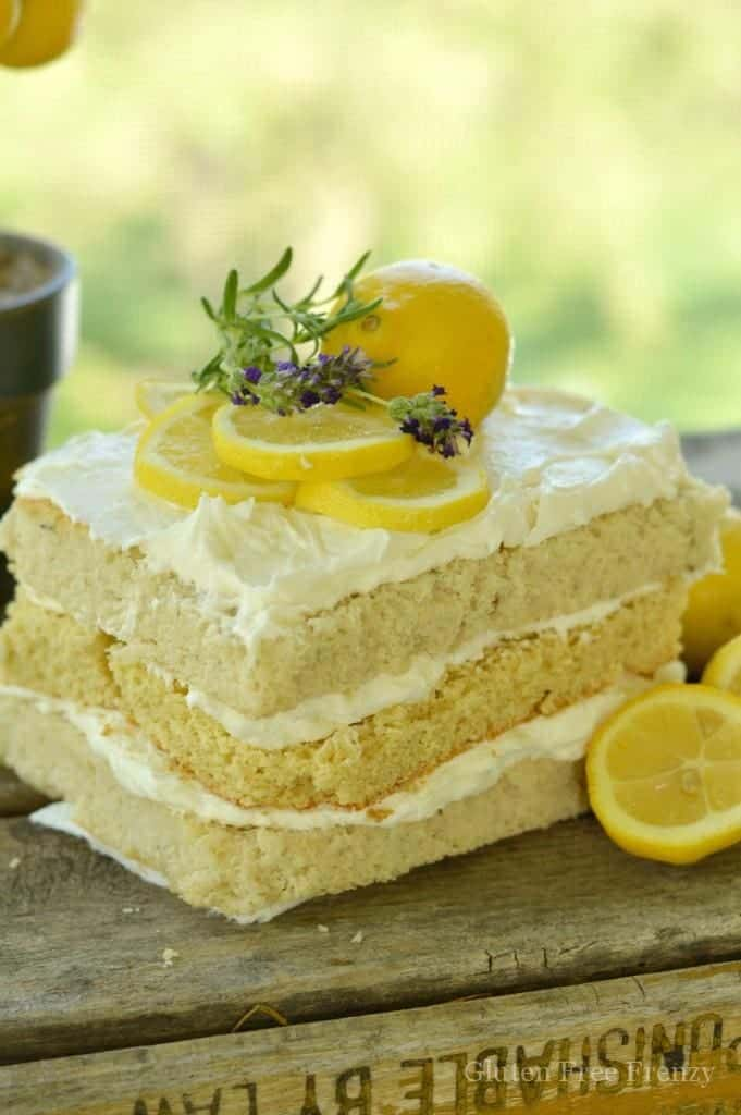 This honey, lemon & lavender spa party is full of fun ideas including a delicious lunch and dessert table with gluten free lemon cake. || This Vivacious Life #summerparty #spaparty #glutenfree #lemoncake #partyideas