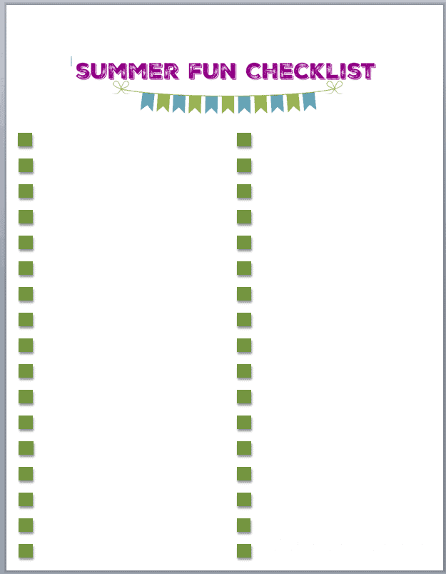 I've been wanting a summer fun checklist! Love that this one is blank so you can customize it for what your family likes to do. There are also 50+ ideas included to get your mind thinking of summer fun for your kiddos!