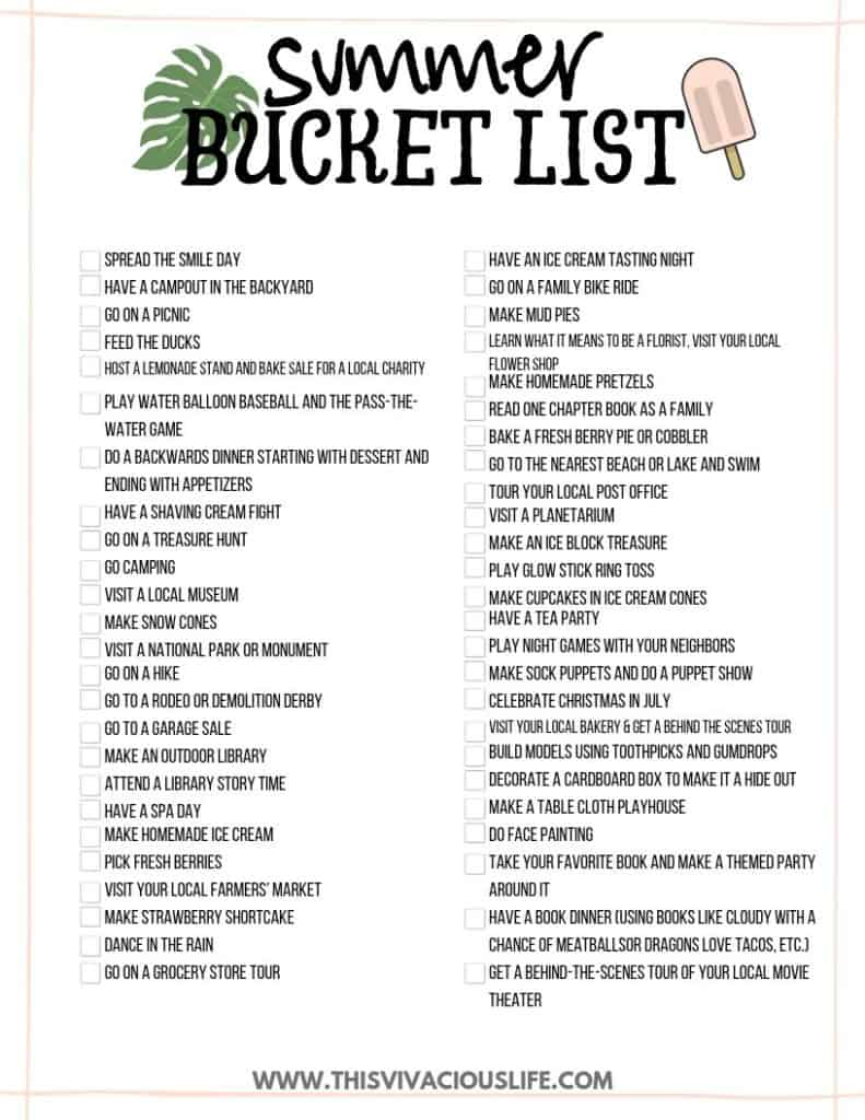 Printable summer bucket list filled out