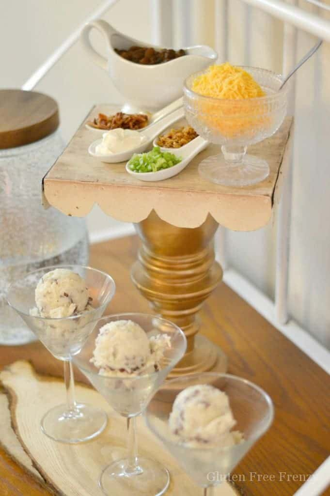 The girls at my last girls night LOVED this yummy and pretty dinner! Mashed potato bars are so easy and elevate any dinner experience. Get all the ideas for your very own mashed potato bar like jazzing it up with specialty glasses. glutenfreefrenzy.com