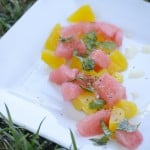 This watermelon & golden beet summer salad is loved when brought to the table. It is fresh, easy and absolutely beautiful! glutenfreefrenzy.com