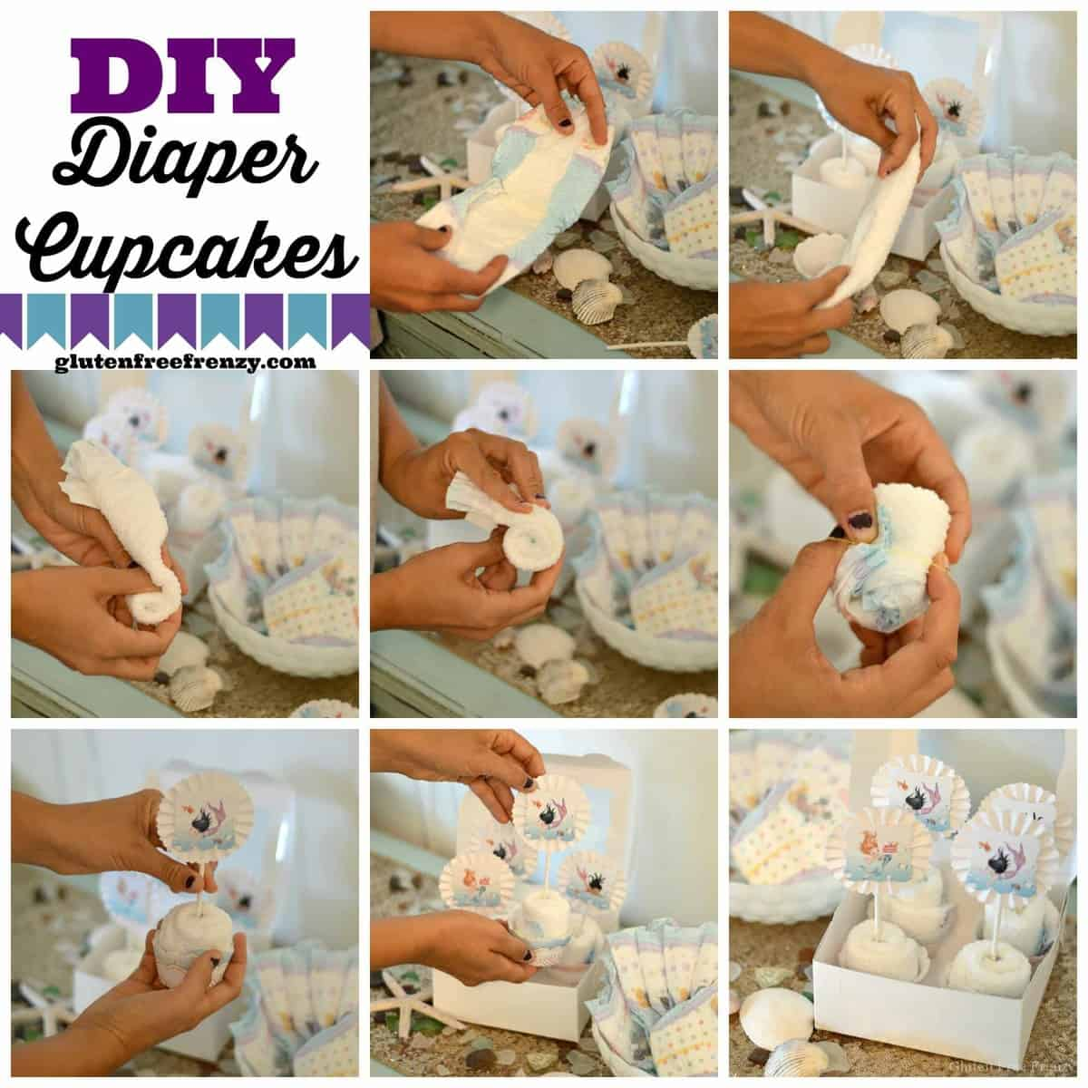 mermaid baby shower and DIY diaper cupcakes with Huggies