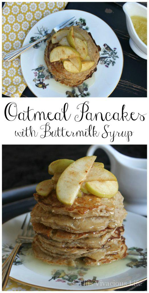 These gluten-free oatmeal pancakes with buttermilk syrup are so ADDICTING! These oatmeal pancakes with buttermilk syrup are fluffy, hearty and so delicious. | gluten free breakfast | gluten free pancakes | gluten free recipes || This Vivacious Life #glutenfree #pancakes #recipes #breakfast #glutenfreebreakfast