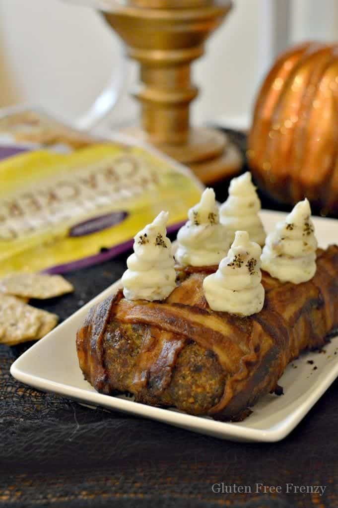 Bacon Wrapped Meatloaf With Ghost Mashed Potatoes